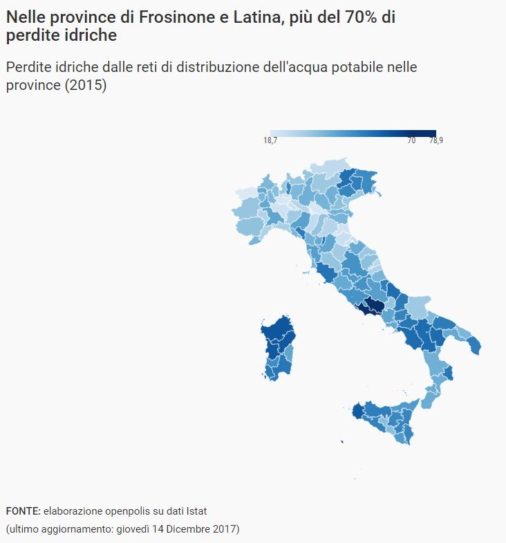acqua potabile dispersa nelle province italiane