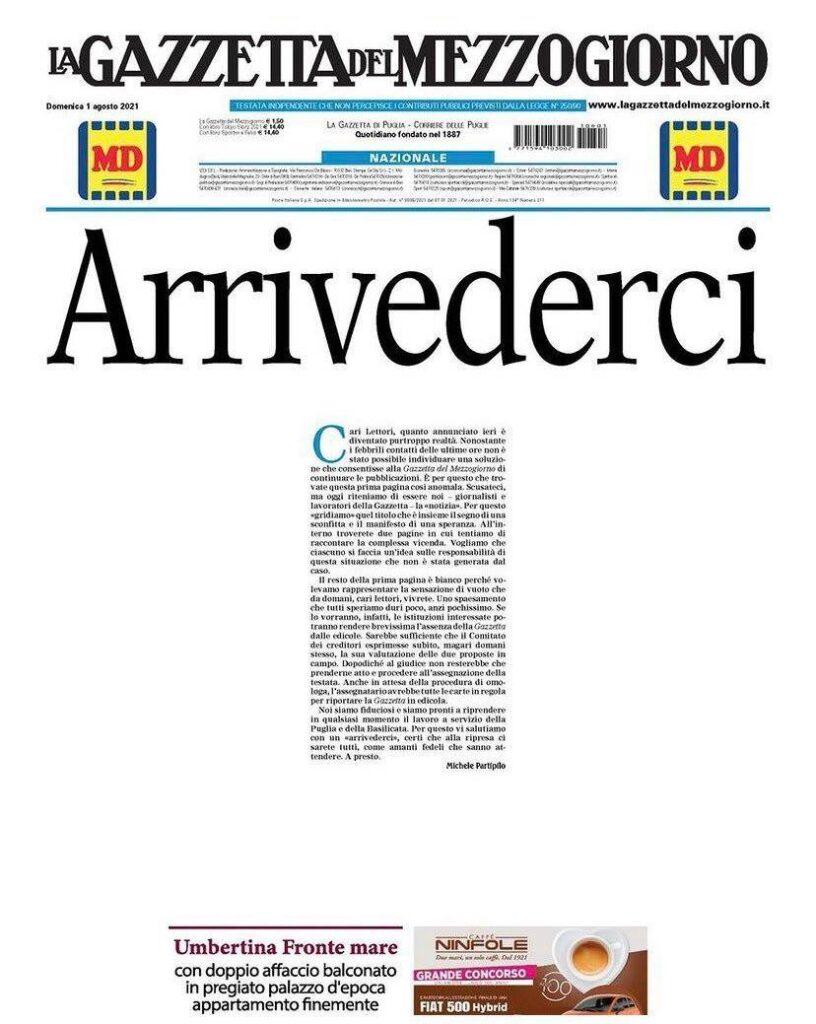 prima pagina la gazzetta del mezzogiorno